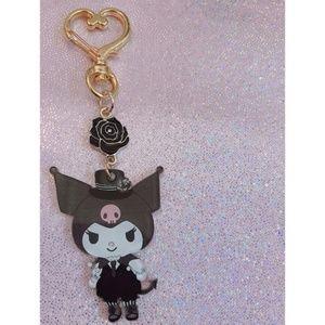 Kuromi Key Chain Black Rose Charm School Uniform